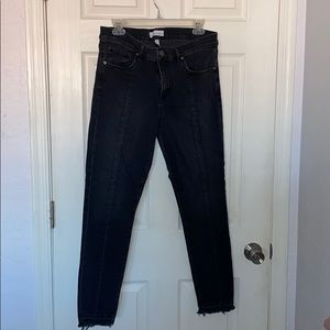 Raw hem black jeans
